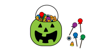 Cartoon trick or treat jack o' lantern filled with candy
