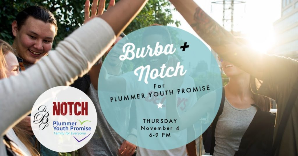 A group of friends giving high fives. Burba + Notch for Plummer Youth Promise. Thursday, November 4 6 to 9 p.m.